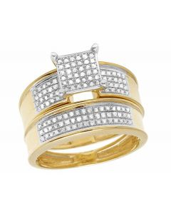 10K Yellow Gold Real Diamond Two Piece Square Bridal Wedding Ring Set 2/5 Ct 8MM