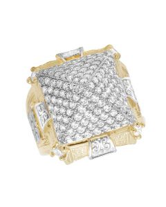 Men's Real 10K Yellow Gold Lab Diamond Pyramid Ring 22MM