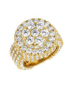Mens 14K Yellow Gold 3D Round Cluster Real Diamond Pinky Ring 8CT