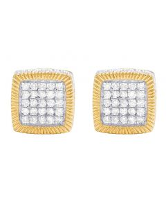 Unisex 10K Yellow Gold Diamond 3D Square Cluster Stud Earring 0.85 Ct 10MM