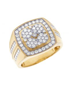 10K Yellow Gold Real Diamond Square Pinky Ring 1.45 CT
