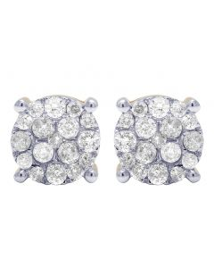 10K Yellow Gold Real Diamond Prong Studs Earrings 1.02 CT 9MM