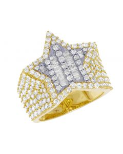 Mens Yellow Gold Baguette Diamond Super Star Pinky Ring 20mm 3 CT