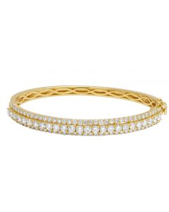 14K Yellow Gold 10 Pts Solitaire Real Diamond Bangle Bracelet 4.65 CT