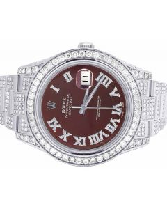 Rolex Datejust II 116300 Iced Out 41MM Red Dial Diamond Watch 18.0 Ct