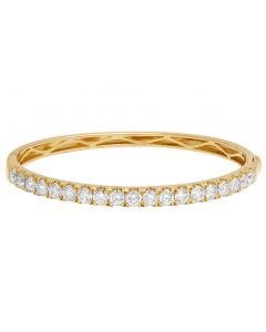 14K Yellow gold Real Diamond 25 ptr 1 Row Bangle Bracelet 4.40 CT