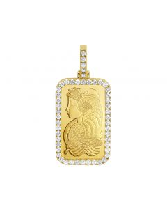 1 oz 24K Yellow Gold Fortuna Bar Frame Diamond Pendant 4.25 Ct