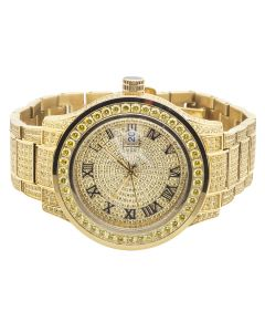 Men's Jewelry Unlimited Yellow Gold Simulated Canary Diamond Watch