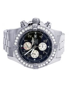 Custom Breitling A13370 Super Avenger Black Dial Diamond Watch 4.5 Ct