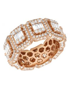 Mens 14K Rose Gold 3D Eternity Baguette Real Diamond Cluster Ring Band 4.5CT