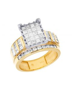 10K Yellow Gold Baguette Princess Diamond Engagement Ring 2 Ct 12MM