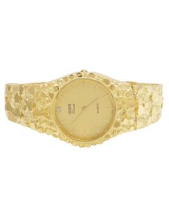 Unisex Solid 10K Yellow Gold Classic Nugget Watch 34MM
