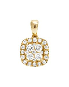Ladies 14K Yellow Gold Genuine Diamond Square Halo Cluster Pendant 1/2 Ct 15MM