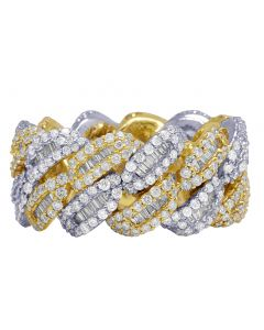 10K Two Tone Real Diamond Baguette Cuban Ring Band 12MM 4.5 CT