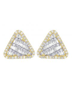 10K Yellow Gold Baguette Diamond Triangle Earrings 11MM .5 CT