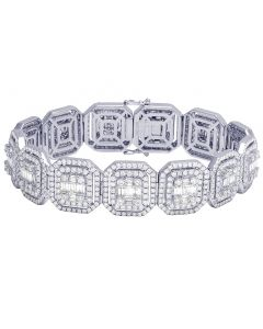 Mens 14K White Gold Square Baguette Real Diamond Statement Designer Bracelet 16.75CT