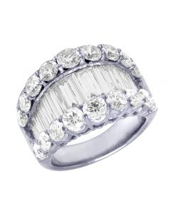 14K White Gold Solitaire Baguette Diamond Band 5.82 CT