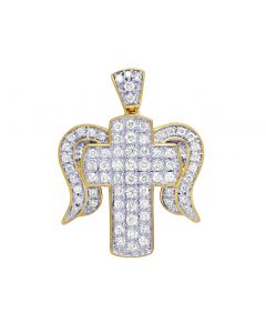 "Unisex 10K Yellow Gold Diamond Cross Angel Wing Pendant 1"" .70CT"