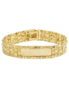 10K Yellow Gold Men's Nugget ID Bracelet 16MM 8.5""