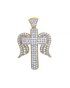 "Unisex 10K Yellow Gold Diamond Cross Angel Wing Pendant 1.5"" .70CT"