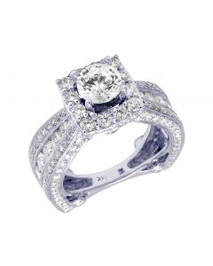 14K White Gold 3D Halo Ladies Semi Mount Engagement Ring 3.75 CT