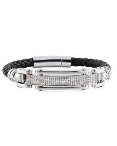 "Mens Braided Leather Band Diamond Bracelet BR1C by Arctica 8.5"" 1Ct"