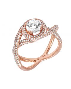 14K Rose Gold Unique Semi Mount Engagement Ring 1.0 CT