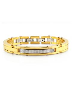 "Mens Curved Bangle Style Diamond Yellow Bracelet BR2C by Arctica 8.5"" 0.65Ct"