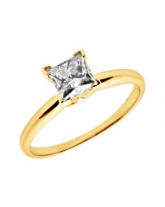 14K Yellow Gold Princess Diamond Solitaire Engagement Ring 0.50ct