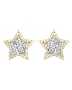 10K Yellow Gold Baguette Diamond Star Earrings 13MM .75 CT