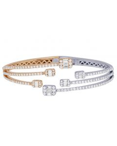 "14K Two-Tone Diamond Baguette Bangle 18MM 6.25"" 1.5CT"
