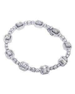 White Gold 3.5CT Diamond Baguette Halo Illusion Bracelet 8.5MM 8""
