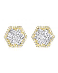 10K Yellow Gold Baguette Diamond Hexagon Earrings 11MM .5 CT
