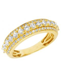 Mens Wedding Diamond Band 10K Yellow Gold Ring 1.5Ct 7MM