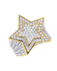 Mens 10K Yellow Gold 3D Super Star Diamond Ring 6.25CT