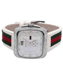 Mens Gucci Coupé White YA131303 Diamond Watch (3.5 ct)