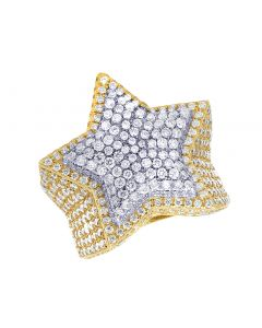 Men's 10K Two-tone Real Diamond Star Pinky Ring 7.5 CT 28MM