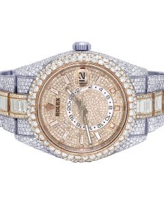 Rolex Sky Dweller 42MM 326934 Everose Baguette Diamond Watch 36.55 Ct
