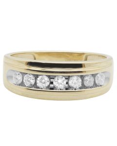 10K Yellow Gold One Row Real Diamond Channel Wedding Band Ring 0.75 Ct
