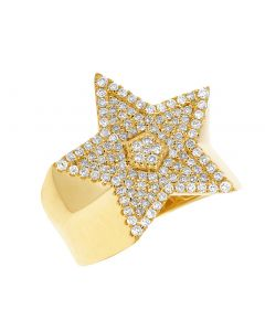 Mens 14K Yellow Gold Iced Out Super Star Ring 1.15CT