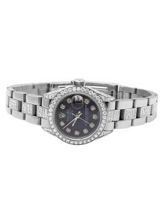 Ladies Rolex Datejust Black Dial 27 MM Stainless Steel Diamond Watch (8.0 Ct)