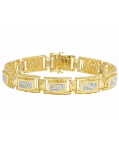 Real Diamond Yellow Gold Finish Men's Designer Bracelet 1 1/5 CT