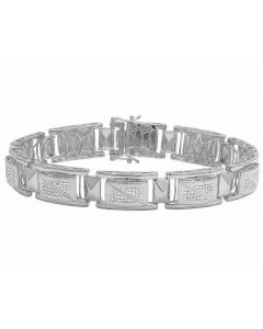 Real Diamond White Gold Finish Men's Designer Bracelet 1 1/5 CT