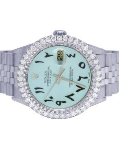 Rolex Datejust 36MM S.Steel Iced Blue Dial Diamond Watch 3.25 Ct