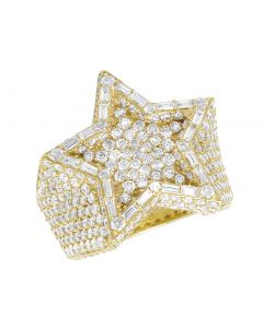 10K Yellow Gold Star Real Diamond Baguette Super Star Pinky Ring 21MM 6.25CT