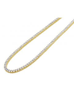 Yellow Gold 1.5 Pointer Illusion Set Tennis Chain 3MM 16-24""
