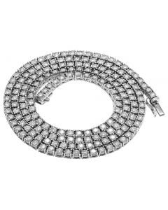 Mens 10K White Gold 1 Row Tennis Choker Real Diamond Chain Necklace 7.2CT 24""