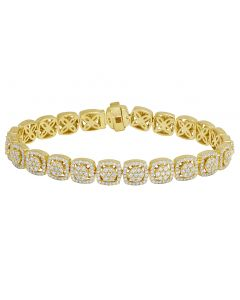 Yellow Gold Square Flower Cluster Diamond Halo Bracelet 9.5MM 7.85CT