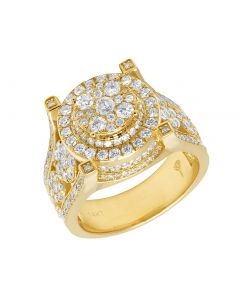 14K Yellow Gold Real Diamond Men's Statement Ring 3.16 CT 15MM