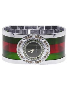 Ladies Gucci Twirl Green Red Diamond Watch 2.5 Ct YA112417
